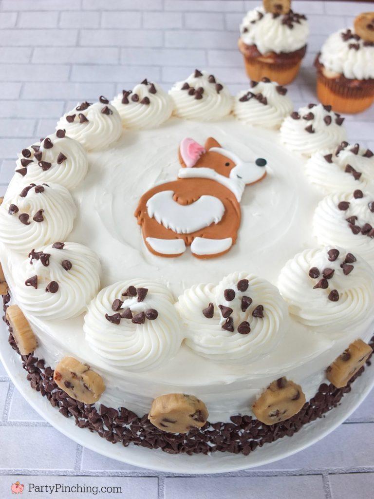 Corgi Butt Cake, Chocolate Chip Cookie Dough Cake, Edible Chocolate Chip Cookie Dough, Safe to Eat Cookie Dough, Cute Corgi Cupcakes, Dog Cake, Dog Party Ideas