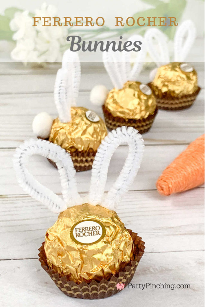 Ferrero Rocher bunnies, Ferrero Rocher Easter candy, cute Easter craft food ideas for kids, easy Easter craft food ideas, creative Easter basket ideas, Easter table decor, dollar tree general store craft DIY ideas