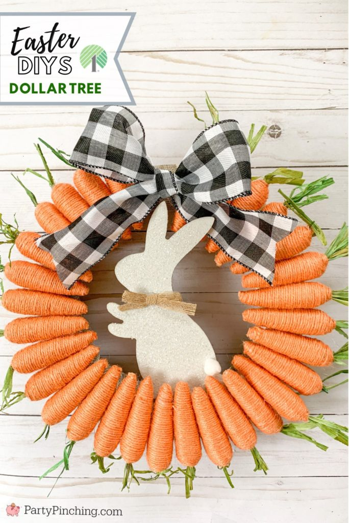 Dollar Tree DIY, Dollar Tree crafts, Easter Dollar store, dollar general diy, cheap inexpensive dollar store decor, budget crafts, bunny carrot wreath