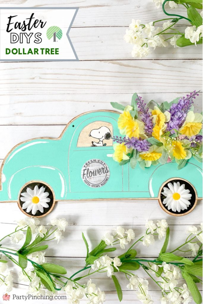 Dollar Tree DIY, Dollar Tree crafts, Easter Dollar store, dollar general diy, cheap inexpensive dollar store decor, budget crafts, spring garden tin, spring garden french farmhouse craft, farmhouse flower truck, craft, little red truck craft, Snoopy Easter wall art