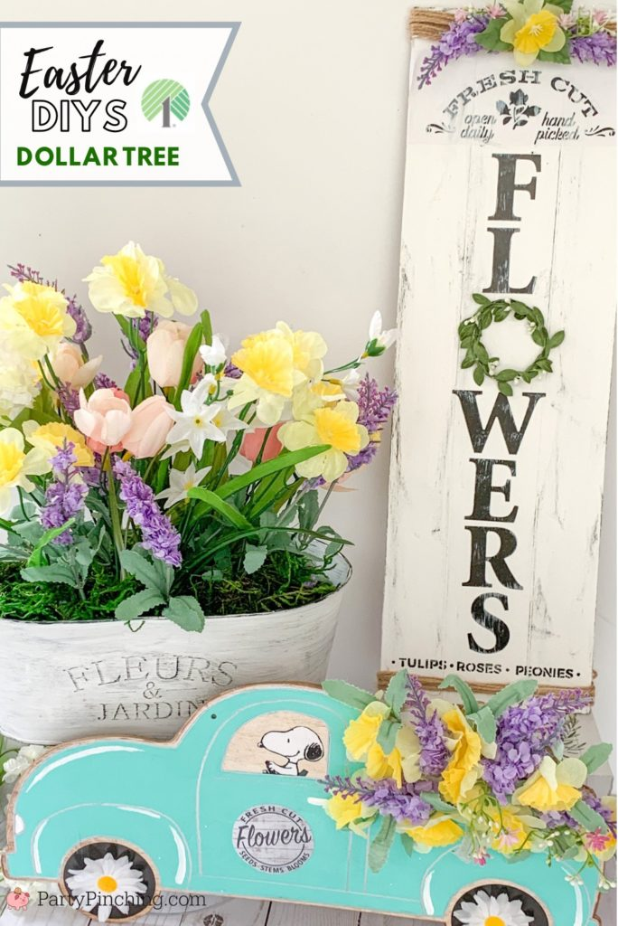 Dollar Tree DIY, Dollar Tree crafts, Easter Dollar store, dollar general diy, cheap inexpensive dollar store decor, budget crafts, spring garden tin, spring garden french farmhouse craft, shiplap flower farmhouse sign, little red truck, flower craft