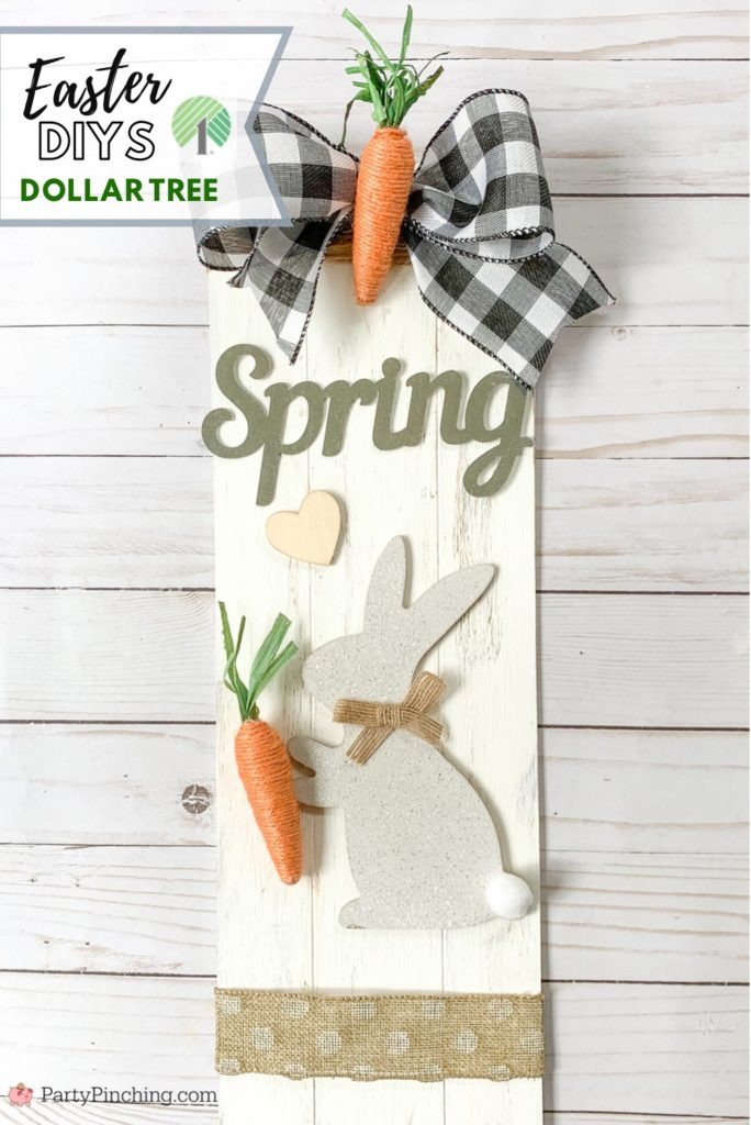 Dollar Tree DIY, Dollar Tree crafts, Easter Dollar store, dollar general diy, cheap inexpensive dollar store decor, budget crafts,bunny sign galvanized, bunny carrot sign
