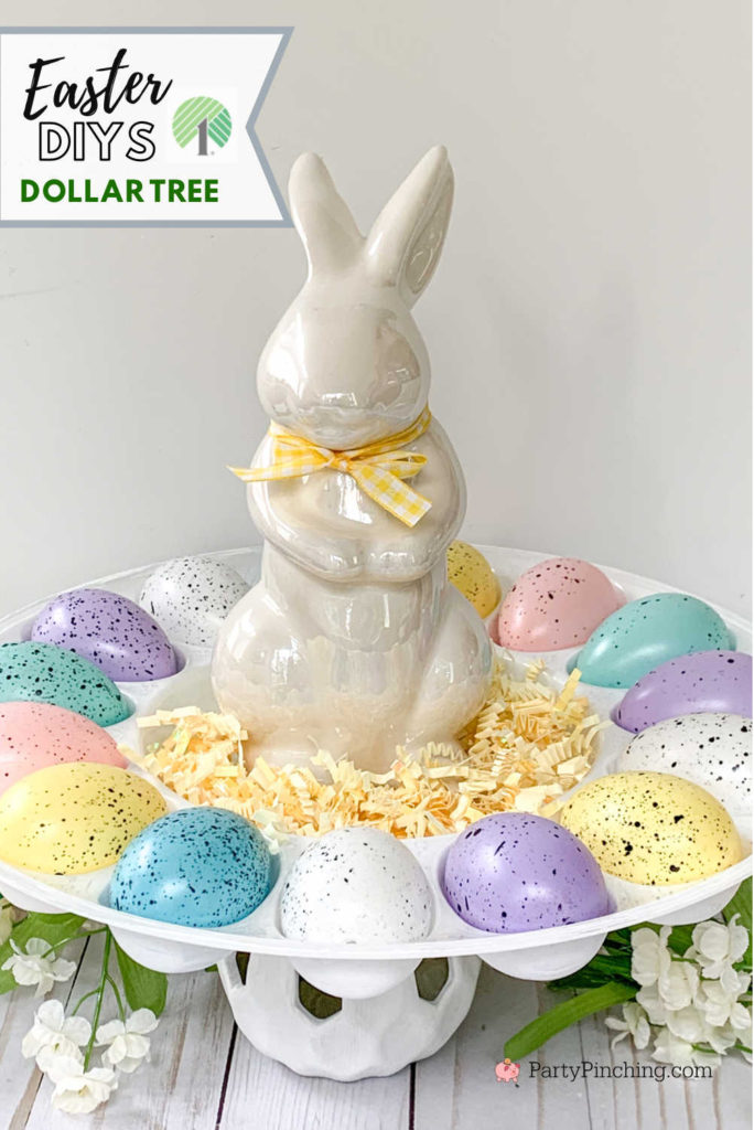 Dollar Tree DIY, Dollar Tree crafts, Easter Dollar store, dollar general diy, cheap inexpensive dollar store decor, budget crafts, spring garden tin, spring garden french farmhouse craft, farmhouse egg holder, Easter egg tray display with bunny