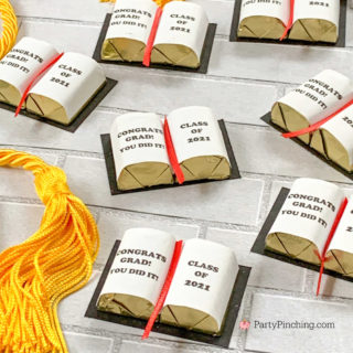Graduation Decorations, Hershey Nugget DIY candy graduation books, candy graduation caps, cute candy graduation favors, diy grad favors, best graduation favors dessert treat, best graduation food, best grad open house party ideas