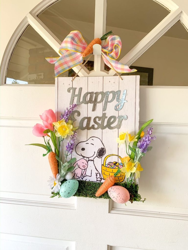 Dollar Tree DIY, Dollar Tree crafts, Easter Dollar store, dollar general diy, cheap inexpensive dollar store decor, budget crafts, Snoopy Easter door sign, galvanized door Easter wreath