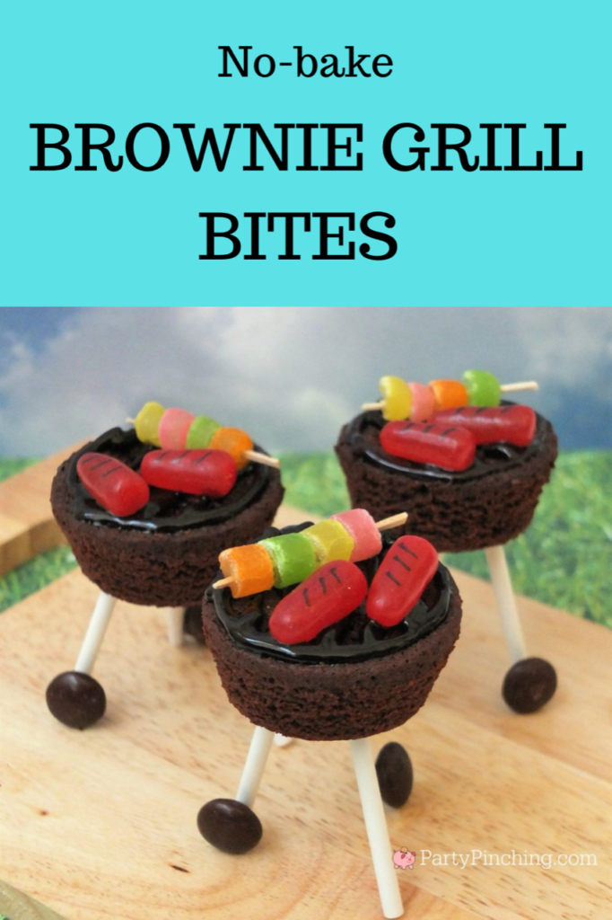 best picnic food recipes, best Father's Day ideas, best summer grill recipes, best summer 4th of july recipes, brownie outdoor grill, brownie grill bites, BBQ brownie grill with candy hot dog and skewers, candy skewer, candy grilled hot dogs, charcoal grill dessert brownies, sweet treat picnic BBQ brownies with wheels, kettle BBQ brownies