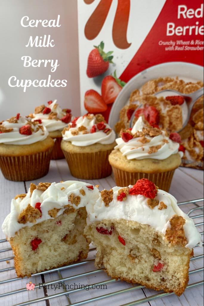 Cereal Milk, Cereal Milk cupcakes, best cereal milk recipes, Special K Red Berries, Kelloggs Special K Red Berries Cereal, Best strawberry cupcake, best cereal milk cake, best cereal milk cupcake recipe