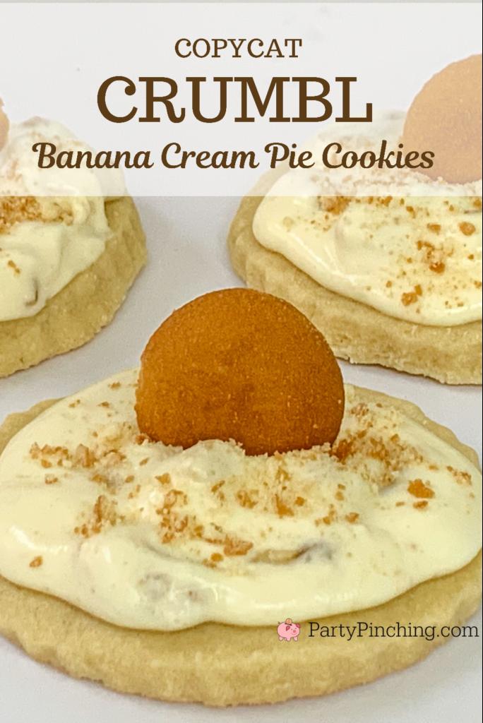 Crumbl Banana Cream Pie Cookies, copycat Crumbl recipe, Crumbl cookie recipes, best Crumbl cookie recipe, best banana cream pudding pie recipe, Magnolia banana pudding, best banana cream pie ever, crumbl cookies, crumble cookies, better than crumbl cookies, party pinching