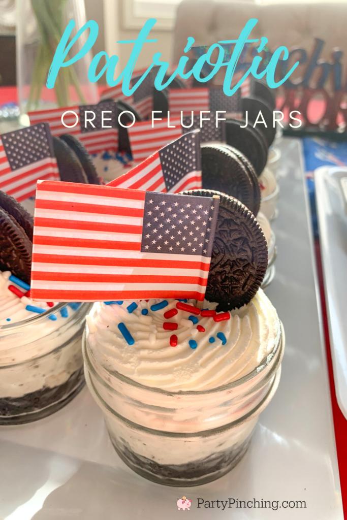 Oreo fluff pie jars, Patriotic Oreo Fluff jars, best 4th of july easy desserts, best potluck desserts,