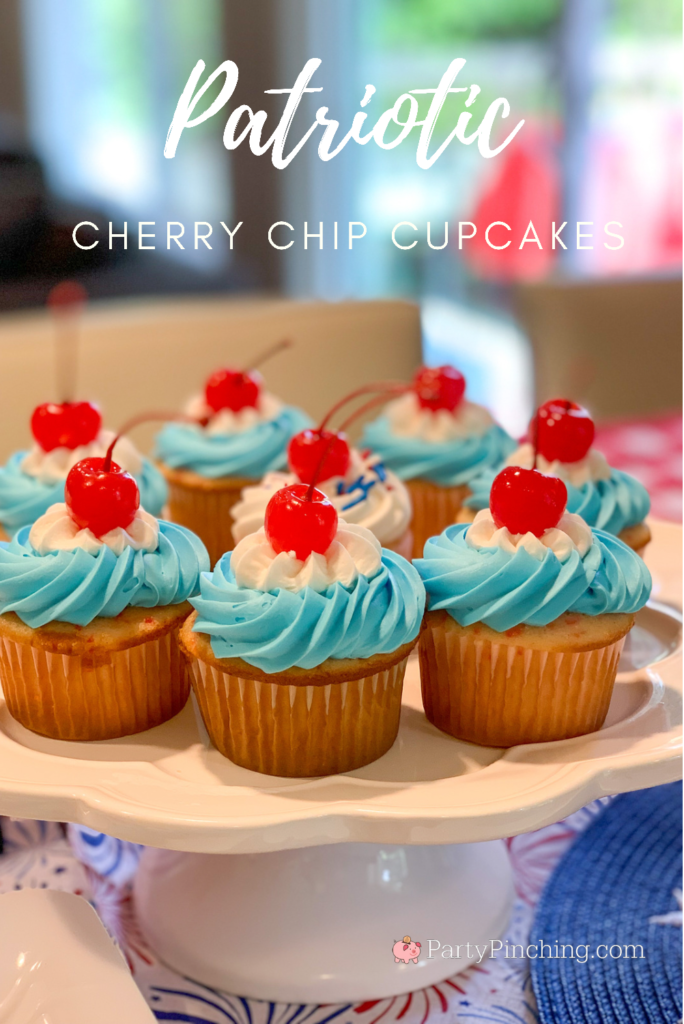 Patriotic Cherry Chip Cupcakes, best dessert recipes for the 4th of July Memorial Day picnics and parties, easiest potluck dessert, easy potluck picnic 4th of July dessert, best cherry cake cupcake,