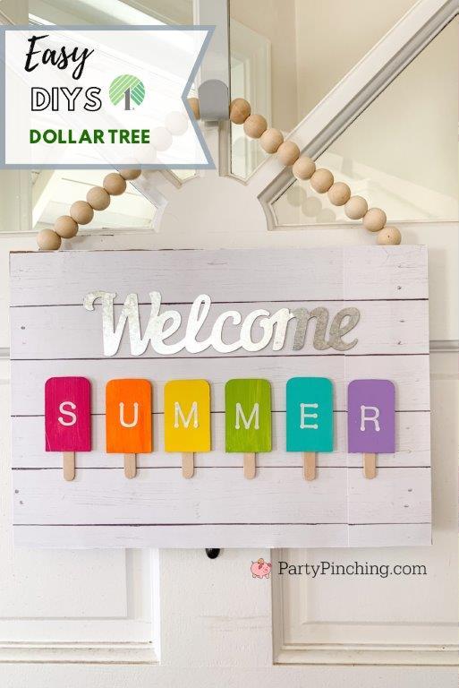 Dollar Tree DIY Popsicle Sign, Summer Dollar Tree Crafts, best Dollar Tree craft ideas, easy dollar tree dollar general crafts, welcome summer popsicle sign, best dollar store ideas
