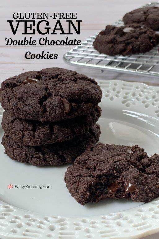 Gluten-free vegan double chocolate cookies, non-dairy cookies, best vegan cookies, best vegan cookie recipe, best gluten-free cookie recipe, easy vegan gluten-free cookie recipe, gluten-free vegan chocolate chip cookie recipe, party pinching