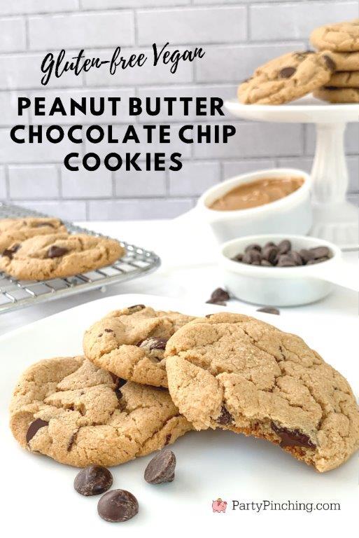 Gluten-free vegan peanut butter chocolate chip cookies, best vegan cookies, best gluten-free cookies, best chocolate chip cookies, best peanut butter cookies, best vegan recipes, best gluten-free recipes, best peanut butter cookie recipes