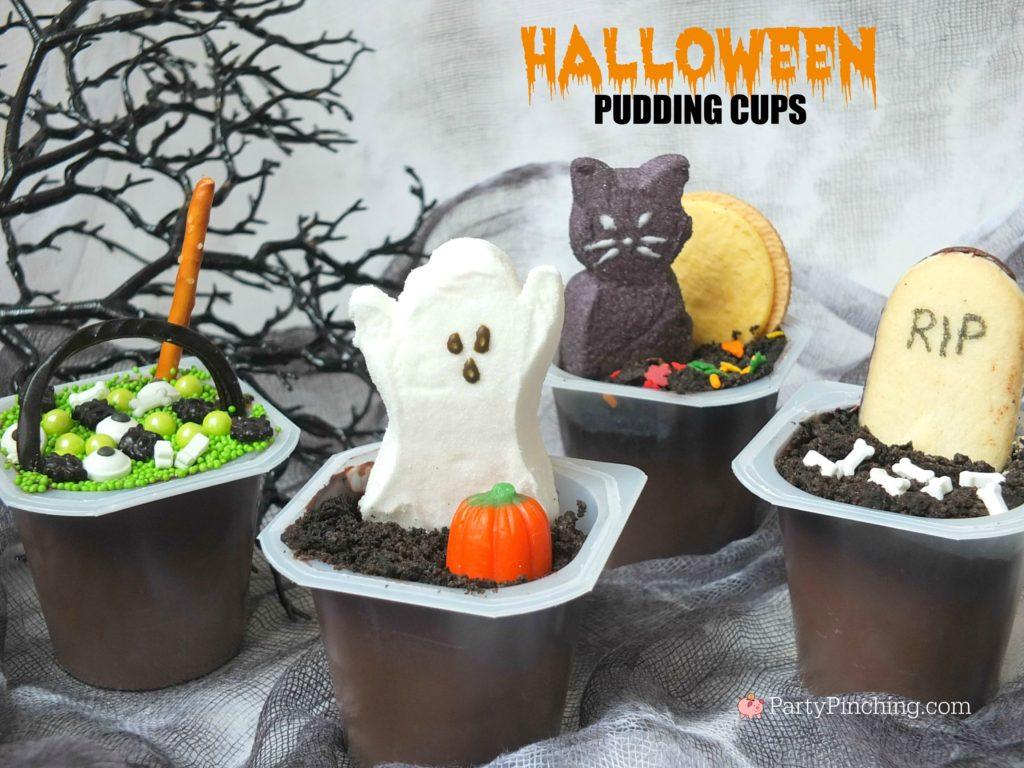 halloween graveyard pudding cups, best classroom party halloween ideas