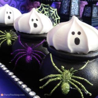Ghost cupcakes, meringue cookies, trader joe's meringue cookies, best easy halloween cookies cupcakes, halloween for kids, cute halloween ideas, best meringue cookies, best classroom Halloween party ideas, best classroom ideas