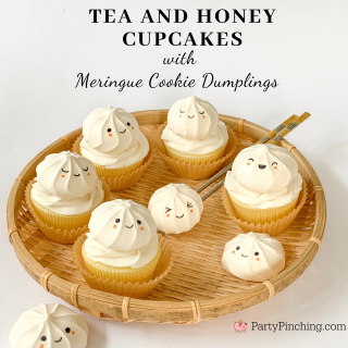 tea and honey cupcakes, tea cupcakes, black tea cupcakes, bao cupcakes, dumpling cupcakes, chinese new year cupcakes, lunar new year cupcakes, adorable easy cupcakes, easy tea and honey cupcakes